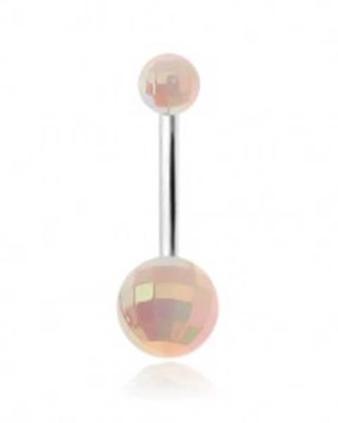Šperky eshop Piercing do brucha, brúsené biele akrylové guličky, dúhový odlesk
