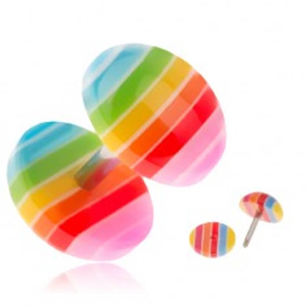 Šperky eshop Akrylový fake plug do ucha, farebné pásiky