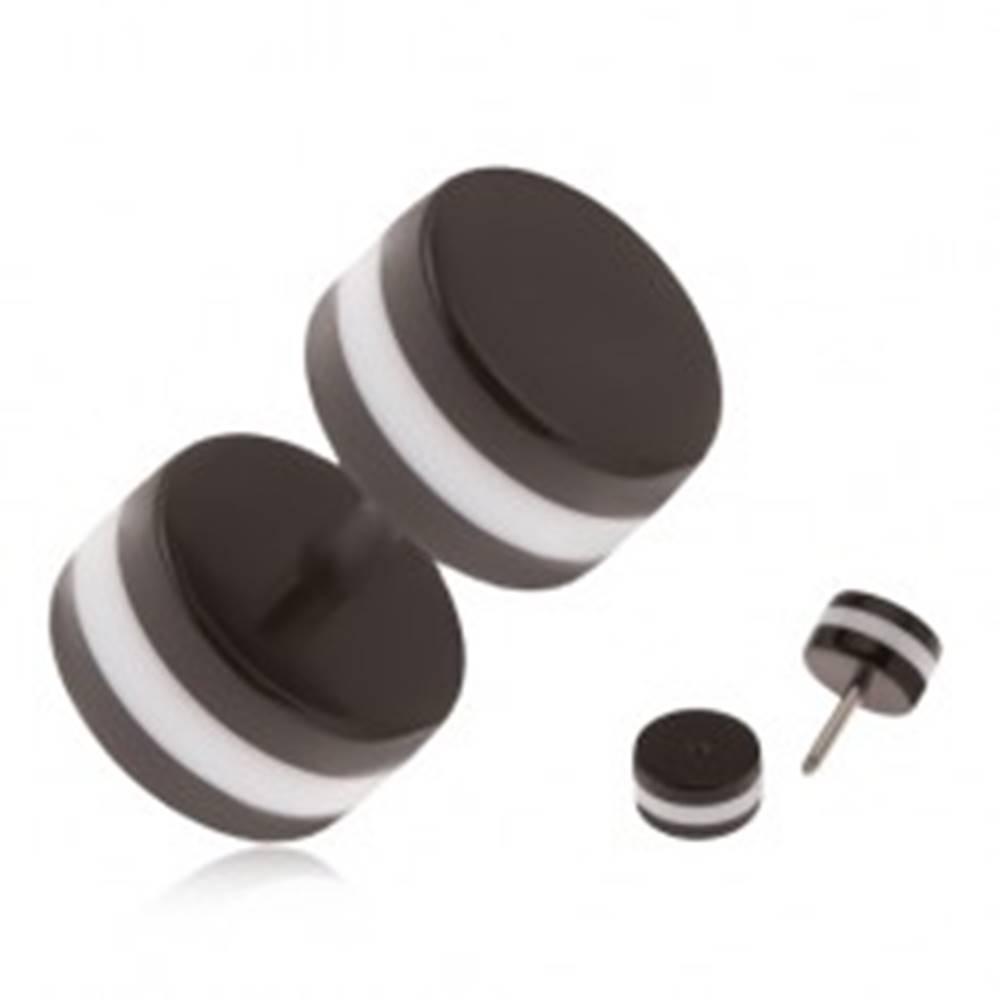 Šperky eshop Akrylový falošný piercing do ucha, čierne kolieska, biely obvodový pás