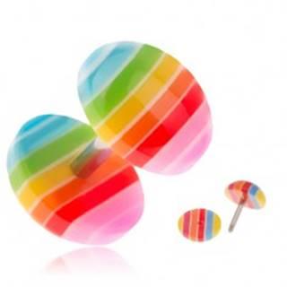 Akrylový fake plug do ucha, farebné pásiky