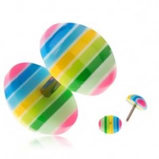 Akrylový fake plug do ucha - žlté, zelené, modré a ružové prúžky