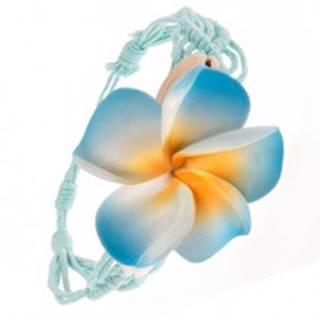 Bledomodrý pletený náramok, vzor vĺn, modrý kvet, lastúry