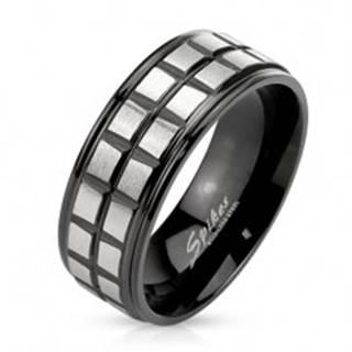 Čierny oceľový prsteň, dve línie z matných štvorcov striebornej farby - Veľkosť: 60 mm