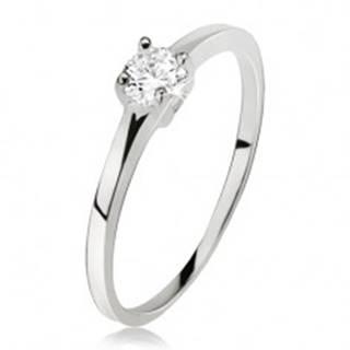 Hladký prsteň striebro 925, okrúhly číry zirkón v kotlíku so štyrmi kolíčkami - Veľkosť: 49 mm