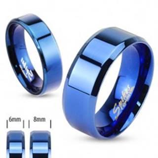 Lesklá hladká obrúčka z chirurgickej ocele, kráľovská modrá, 8 mm - Veľkosť: 59 mm