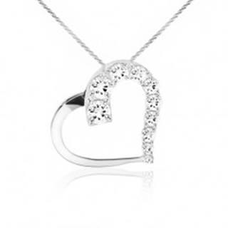 Ligotavý náhrdelník, retiazka, kontúra srdca, číre kamienky, striebro 925