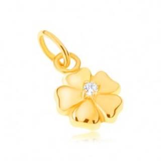 Prívesok zo žltého 14K zlata - ligotavý päťlupeňový kvet s kamienkom
