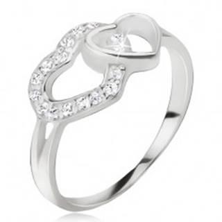 Srdiečkový prsteň, zirkónová a hladká kontúra srdca, striebro 925 - Veľkosť: 49 mm