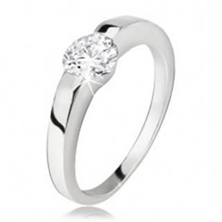 Strieborný prsteň, rozširujúce sa ramená, okrúhly číry zirkón, striebro 925 - Veľkosť: 48 mm