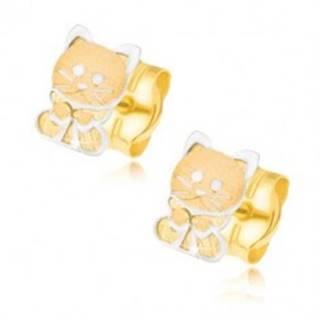 Zlaté náušnice 585 - dvojfarebné mačiatko s mašličkou