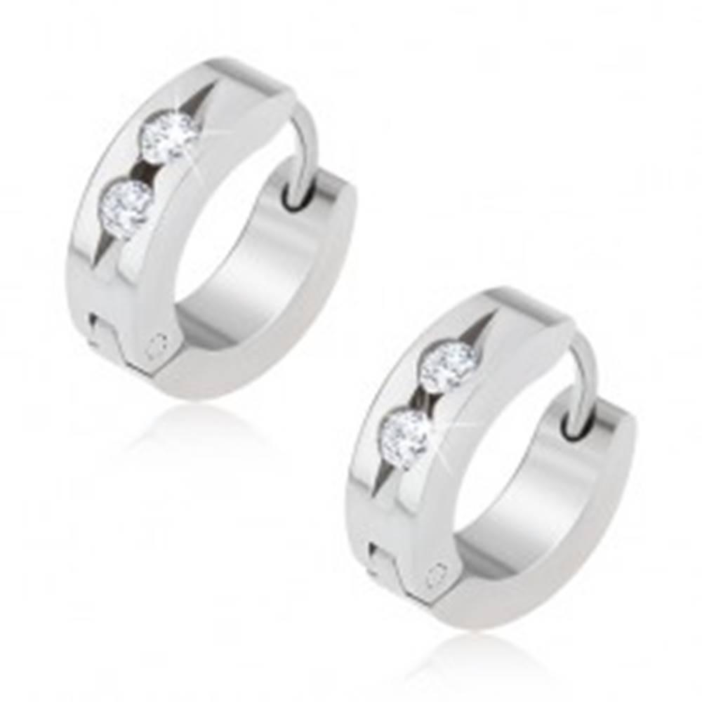Šperky eshop Kruhové oceľové náušnice, žliabok s dvomi čírymi kamienkami