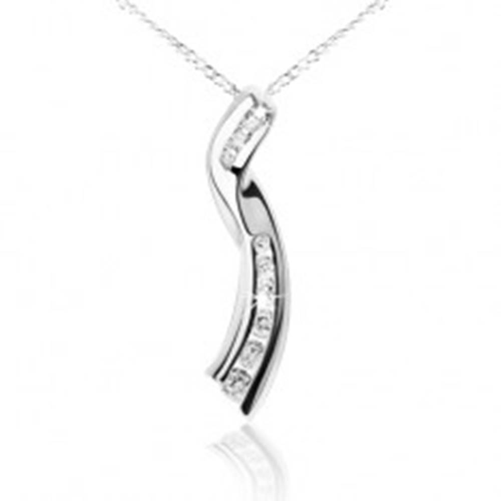 Šperky eshop Lesklý náhrdelník, retiazka, zatočená stužka, číre zirkóny, striebro 925