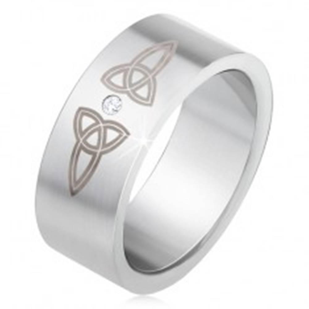 Šperky eshop Matná rovná obrúčka z ocele 316L, číry kamienok, keltské symboly - Veľkosť: 55 mm