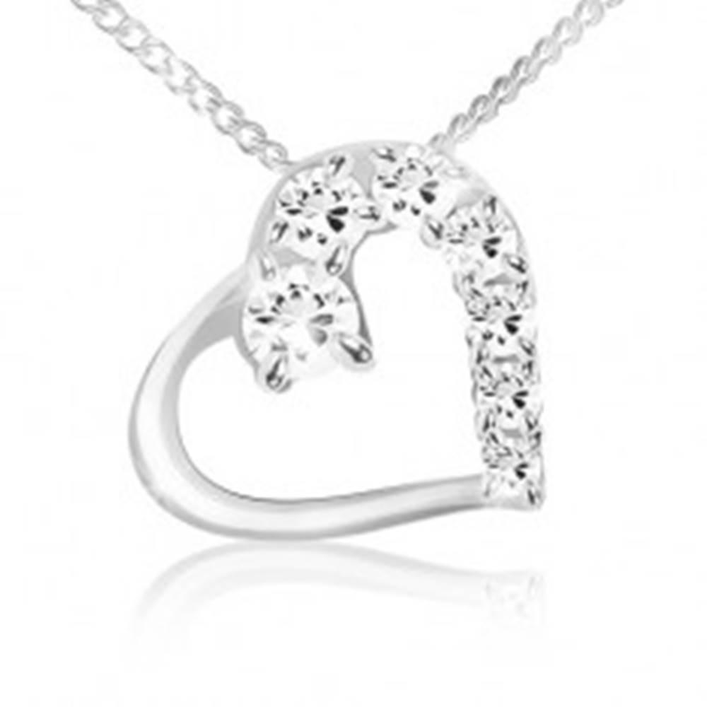 Šperky eshop Náhrdelník, retiazka a obrys srdca s čírou a zirkónovou polovicou, striebro 925