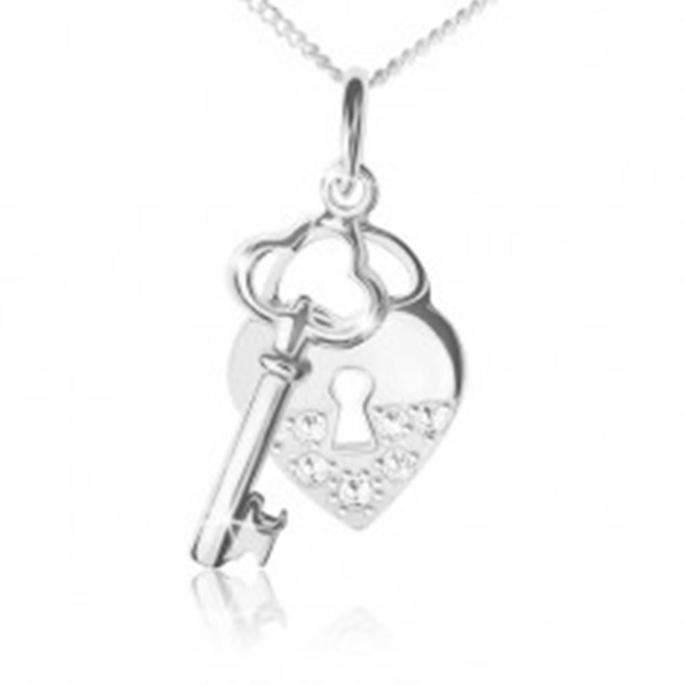 Šperky eshop Náhrdelník striebro 925, retiazka, srdcová zámka a kľúč, číre kamienky