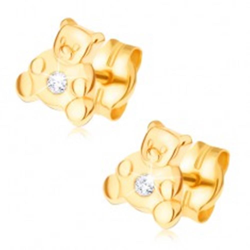 Šperky eshop Náušnice v žltom 14K zlate - malý sediaci medvedík, číry zirkón
