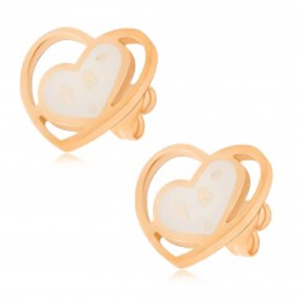 Šperky eshop Náušnice z ocele, biele perleťové srdce v kontúre srdca