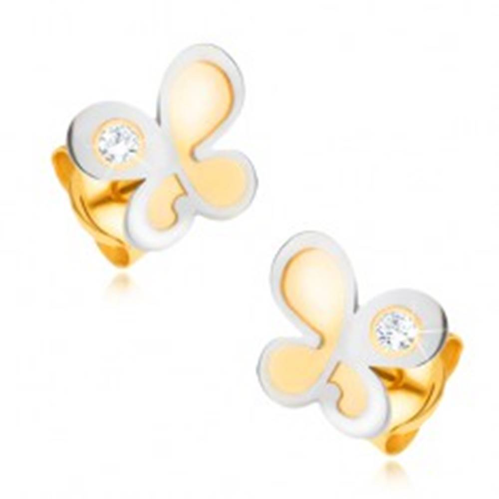 Šperky eshop Náušnice zo zlata 14K - dvojfarebný motýľ s okrúhlym čírym zirkónikom