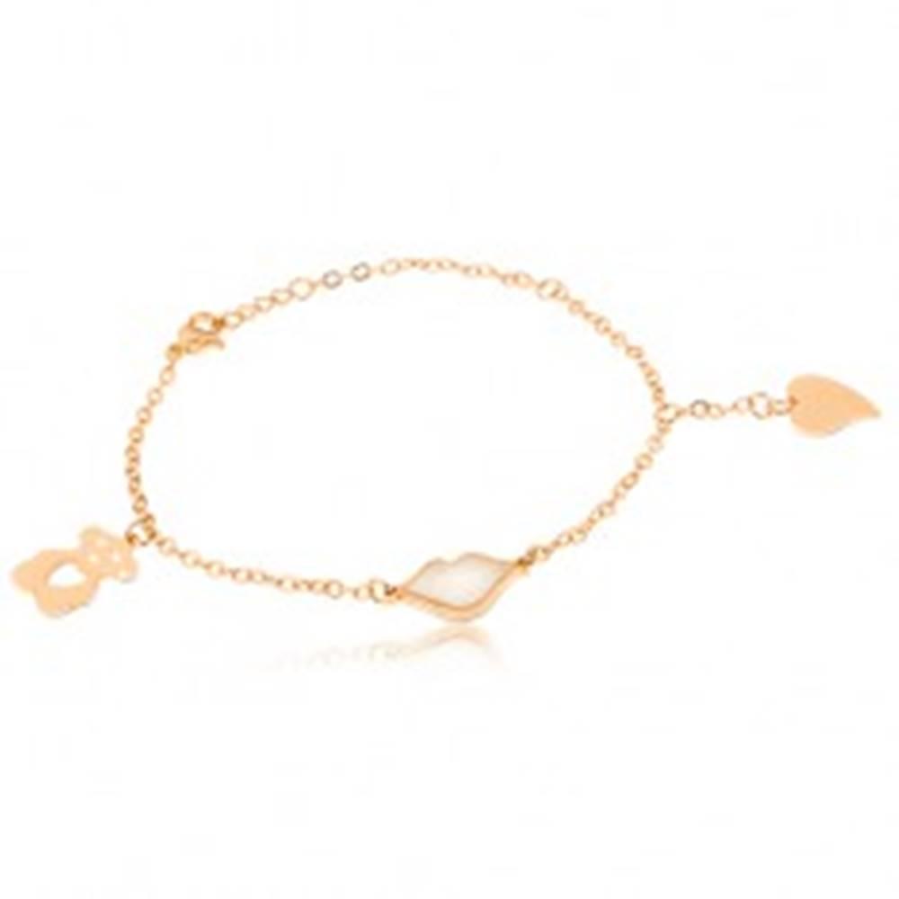 Šperky eshop Oceľový náramok zlatej farby, perleťové pery, vyrezávaný macko, srdce