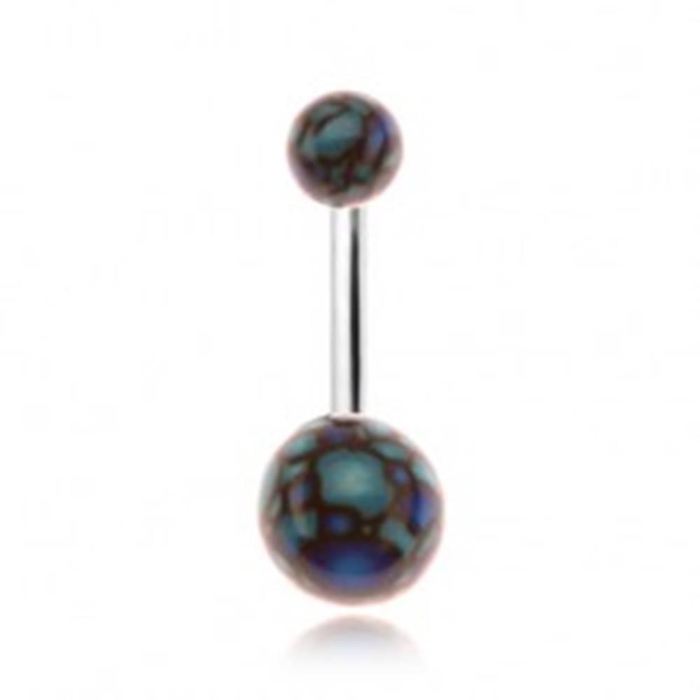 Šperky eshop Piercing do bruška, akrylové guličky, motív modro-čiernych bubliniek
