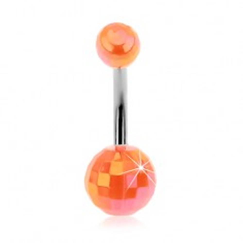 Šperky eshop Piercing do bruška - oranžové akrylové disko gule