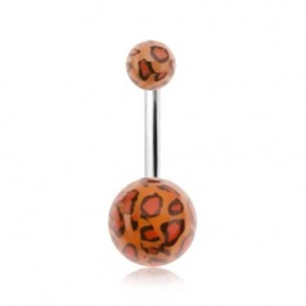 Šperky eshop Piercing do pupku, akrylové guličky s leopardím vzorom