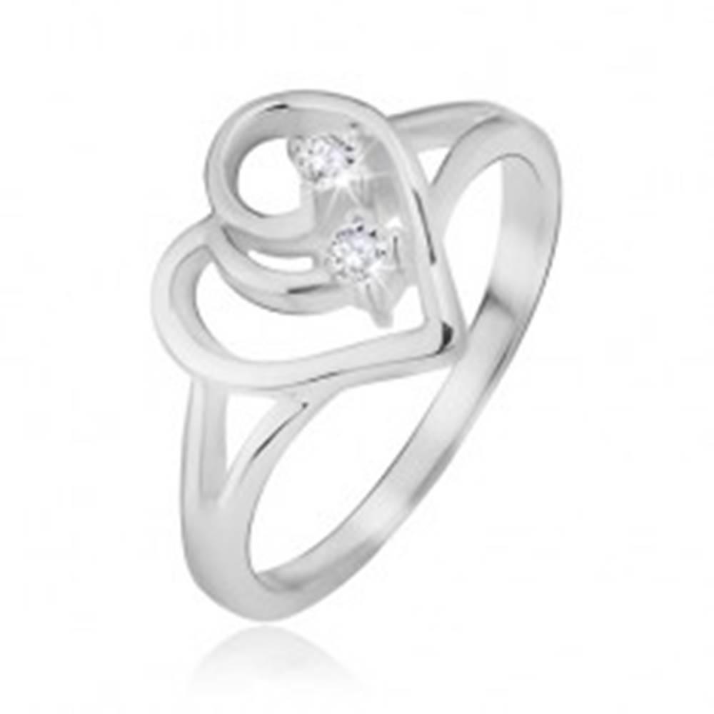 Šperky eshop Prsteň, striebro 925, rozdvojené ramená, obrys srdca, číre kamienky - Veľkosť: 48 mm