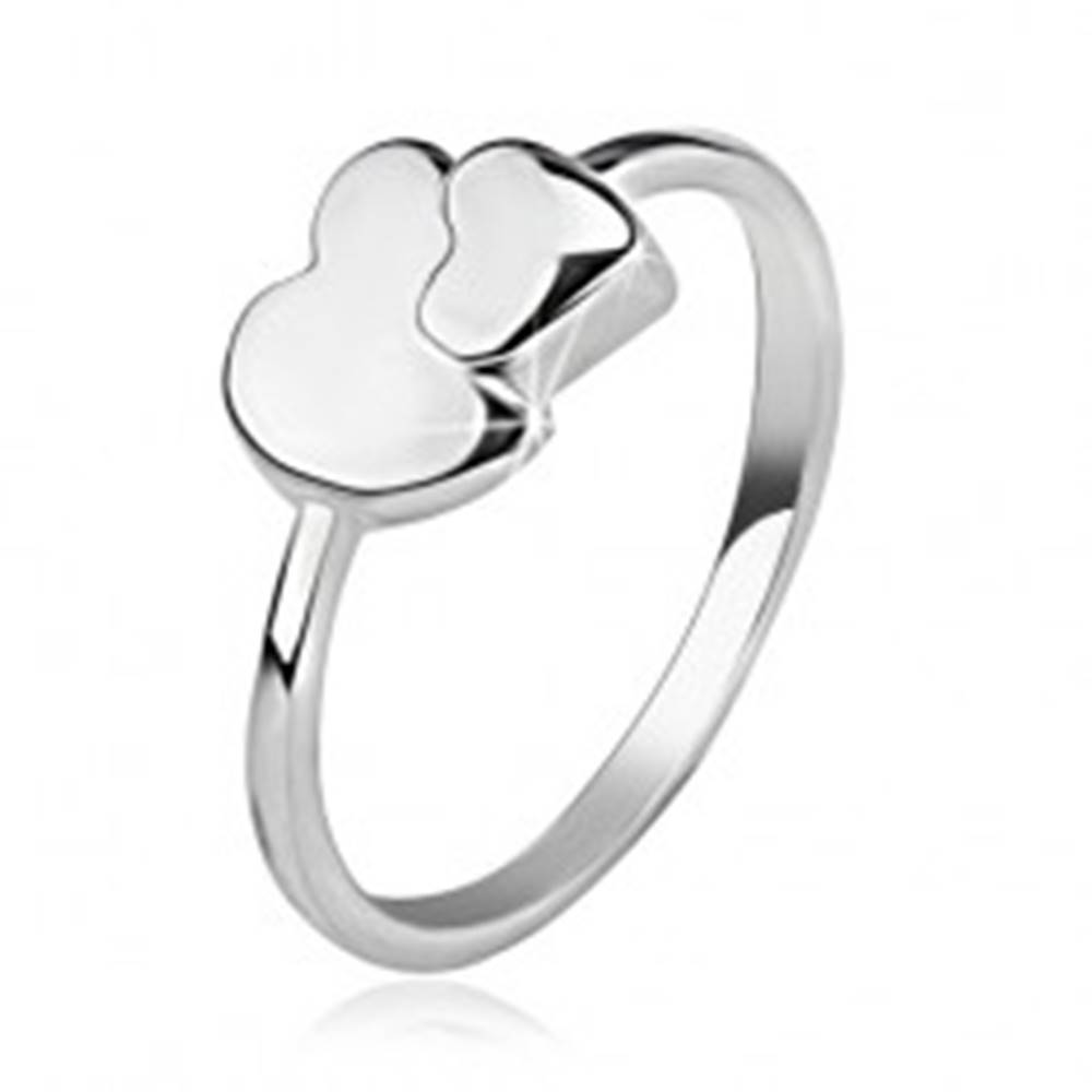 Šperky eshop Prsteň zo striebra 925, asymetrické a symetrické srdce - Veľkosť: 48 mm