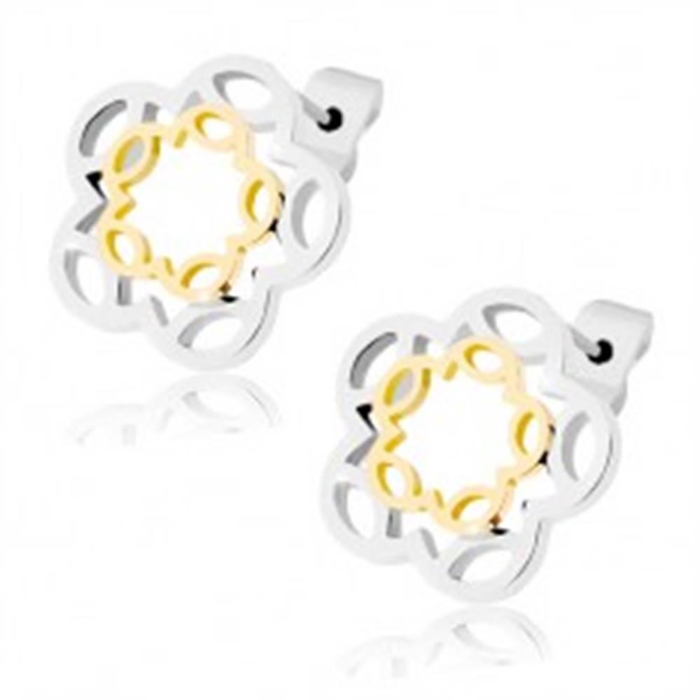 Šperky eshop Puzetové náušnice z ocele, kontúra kvetu zlatej a striebornej farby
