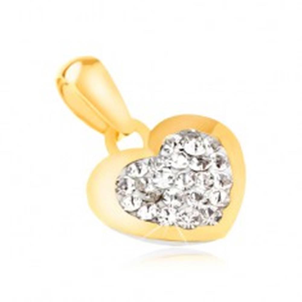 Šperky eshop Zlatý prívesok 585 - ligotavé pravidelné srdiečko, číre zirkóny uprostred