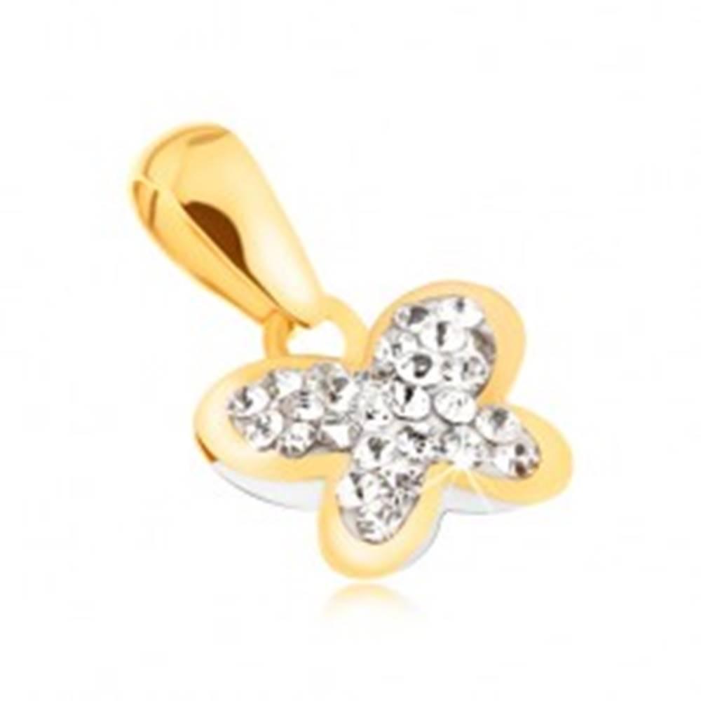 Šperky eshop Zlatý prívesok 585 - motýľ vykladaný čírymi zirkónikmi, ligotavý obrys
