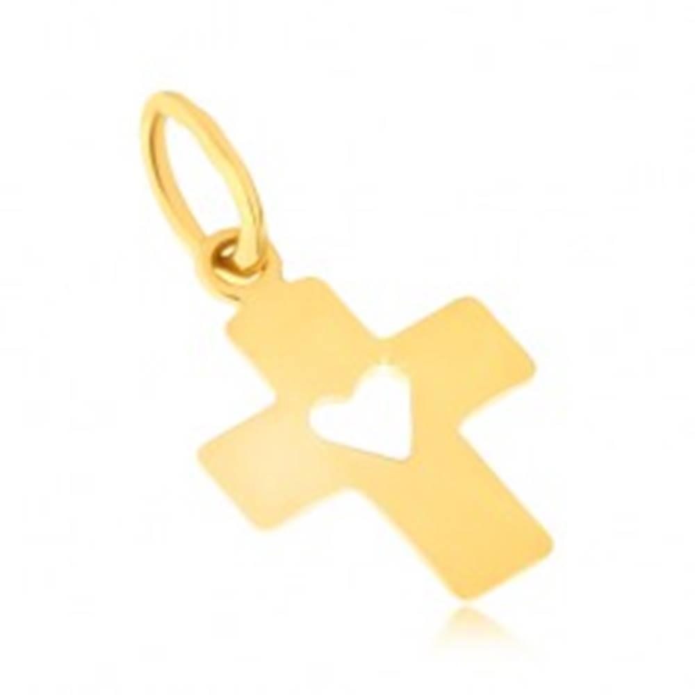 Šperky eshop Zlatý prívesok 585 - plochý latinský kríž, široké ramená, srdcový výrez