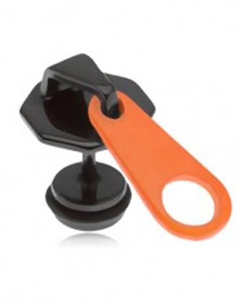 Šperky eshop Čierny falošný plug do ucha z ocele, oranžovo-čierny zips, PVD úprava