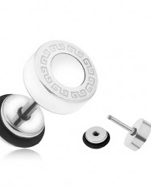 Šperky eshop Oceľový fake plug do ucha, biely glazúrovaný kruh, grécky kľúč, 8 mm