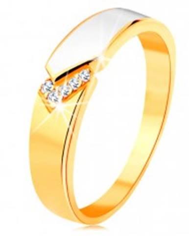 Prsteň zo žltého 14K zlata - lesklý pás bielej glazúry, číre zirkóniky - Veľkosť: 49 mm