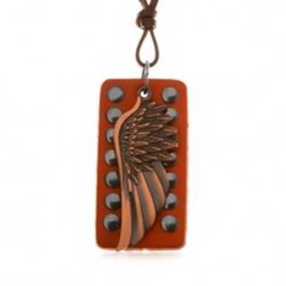 Kožený náhrdelník - anjelské krídlo medenej farby, vybíjaný pás kože
