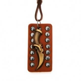 Nastaviteľný kožený náhrdelník - patinovaná dýka, vybíjaný pás kože