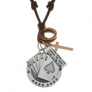 Nastaviteľný kožený náhrdelník, prívesky - piková postupka, kríž, známka