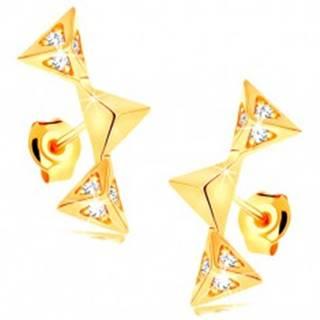 Náušnice v žltom 14K zlate - tri ligotavé ihlany spojené do oblúka, zirkóniky