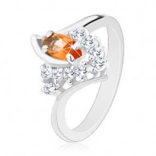 Prsteň so zahnutými ramenami, oranžové zrnko, číre zirkóniky - Veľkosť: 49 mm