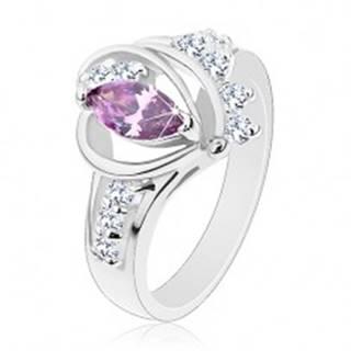 Prsteň v striebornom odtieni, fialový zirkón, hladké oblúky, číre zirkóny - Veľkosť: 49 mm