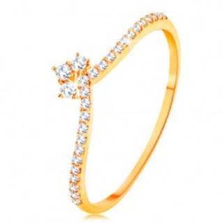 Prsteň v žltom 14K zlate - línie čírych zirkónov na ramenách, ligotavá korunka - Veľkosť: 49 mm