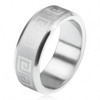 Prsteň z ocele 316L, skosené okraje, saténový pás s gréckym kľúčom - Veľkosť: 56 mm