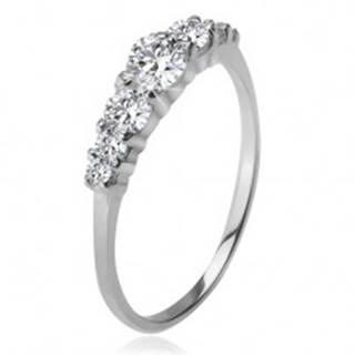 Strieborný prsteň 925, väčší a menšie číre zirkóny v kotlíkoch - Veľkosť: 48 mm