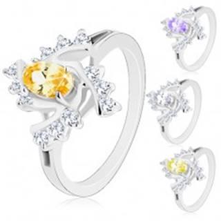 Trblietavý prsteň s rozdelenými ramenami, farebný ovál, číre špirálovité línie - Veľkosť: 48 mm, Farba: Číra