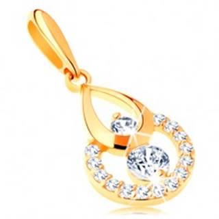 Zlatý prívesok 585 - obrys kvapky a kruhu, žiarivé číre zirkóny