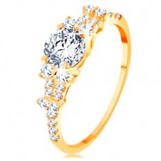 Zlatý prsteň 585 - rozdelené zirkónové ramená, veľký okrúhly zirkón čírej farby - Veľkosť: 49 mm