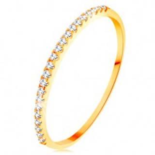 Zlatý prsteň 585 - tenké lesklé ramená, ligotavá zirkónová línia čírej farby - Veľkosť: 49 mm