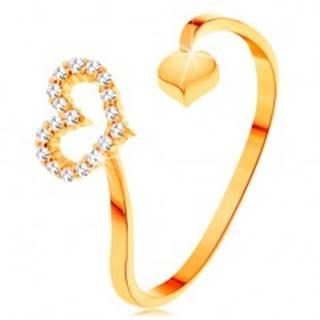 Zlatý prsteň 585 - zvlnené ramená ukončené obrysom srdca a plným srdiečkom - Veľkosť: 50 mm