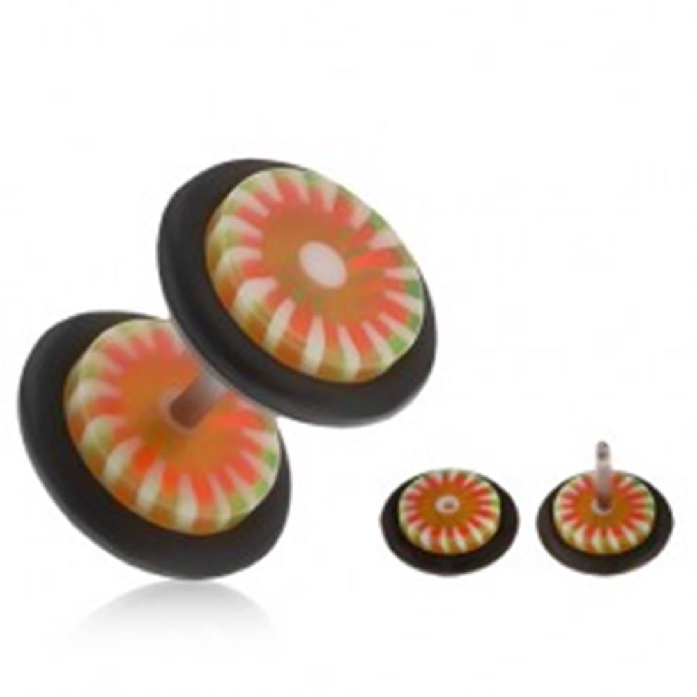 Šperky eshop Falošný akrylový plug do ucha, oranžovo-zelený kvet, biele lúče